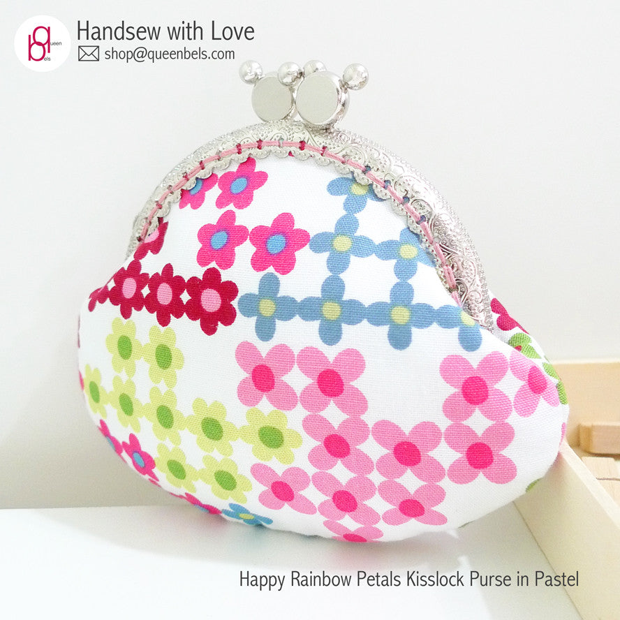 Happy Rainbow Petals Kisslock Purse in Pastel