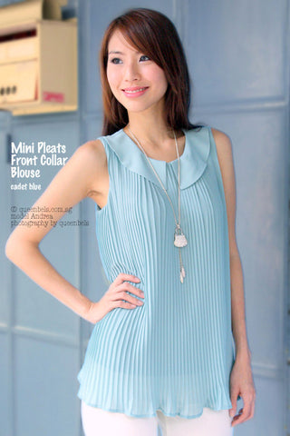 Mini Pleats Front Collar Blouse