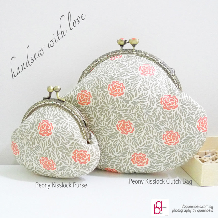 Peony Kisslock Purse + Clutch Bag