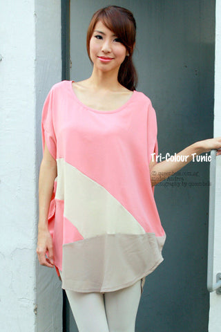 Tri-Colour Chiffon Tunic