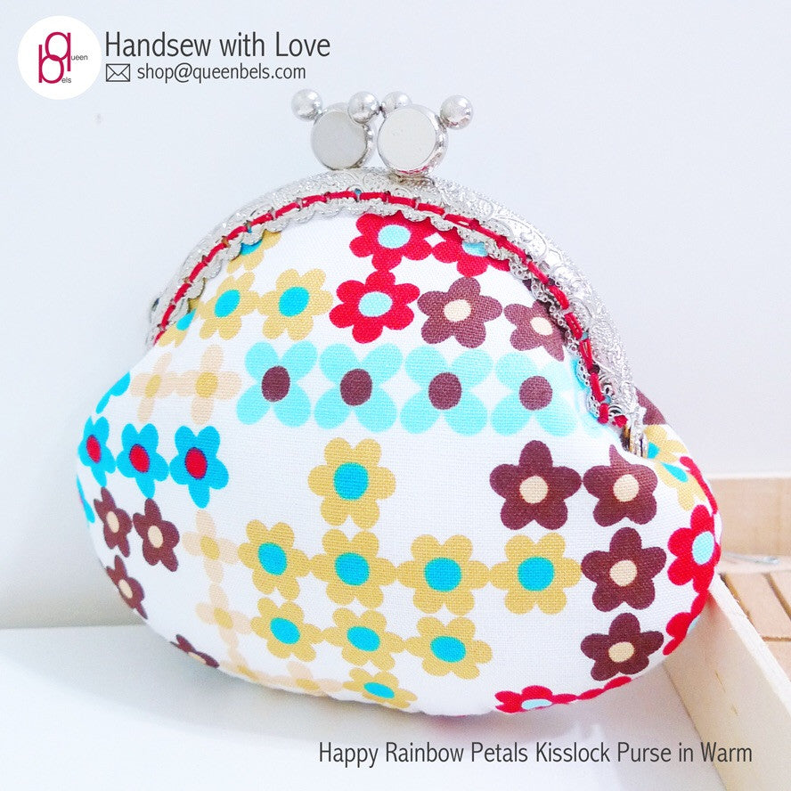 Happy Rainbow Petals Kisslock Purse in Warm