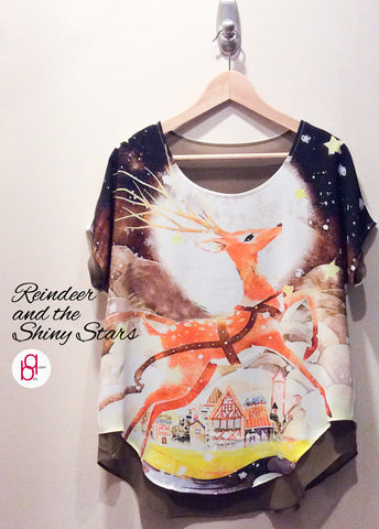 Reindeer and the Shiny Stars Blouse