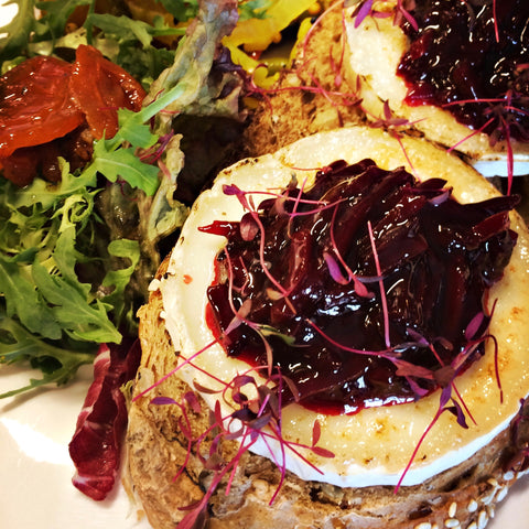 A photo of our smoked goats cheese & beetroot open sandwich - The Artisan Smokehouse