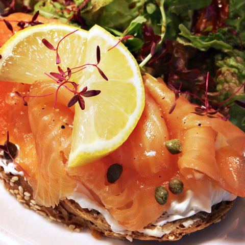 A photo of our smoked salmon & cream cheese open sandwich - The Artisan Smokehouse