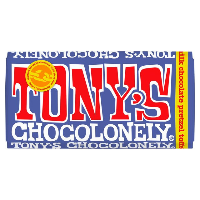 Image of Tony's Chocolonely Fairtrade Dark Milk Chocolate bar with Pretzel & Toffee