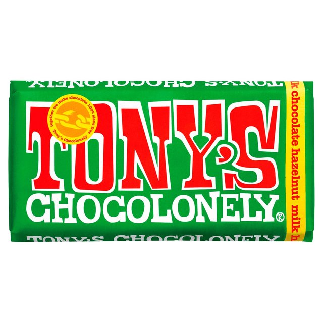 Image of Tony's Chocolonely Milk Chocolate bar with Hazelnut