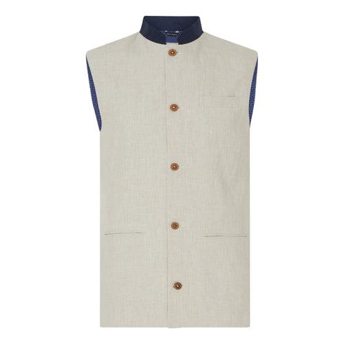 Marmaduke Nehru Gilet Waistcoat Nehru Vest crafted from linen, lined with our stunning hand drawn paisley prints, finished with coconut shell buttons. Nehru Waistcoast, Nehru jacket, Mandarin Collar. Made in England.
