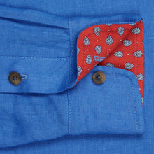 Marmaduke London luxury linen shirts, crafted from pure linen and finished with horn buttons. Featuring our popular hand drawn prints in cuffs and collar. Luxury summer menswear, beachwear.