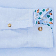 Blue Oxford Cotton Casual Shirt in light blue, with contrast cuffs and horn buttons. Smart casual, regular fit mens shirt. Menswear, casual mens clothing. British Made menswear.