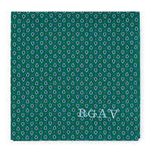 Pocket Square and Mens Handkerchief Made in England from our Hand Drawn prints. Monogrammed initials, personalise, monogram. Gifts for men, Mens gifts, Menswear, Mens Accessories for Christmas gifts, Ascot, Black tie, Fathers Day Gifts. British Textile Designer.