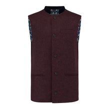 Nehru Gilet Made in England from Burgundy Lambswool and a contrast Nehru collar in navy velvet. Known as Nehru Vest, Nehru Waistcoat, Nehru Gilet. Finished with horn buttons. British designer, British menswear, Made in England. Smart casual Menswear.