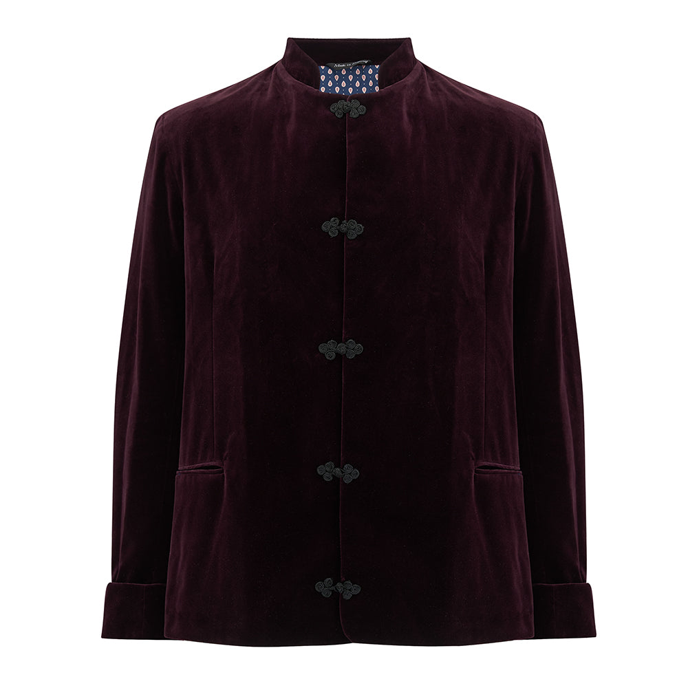 Nehru Jacket Made in England from British Velvet. Nehru Vest, Nehru Waistcoat, Nehru Gilet, Nehru Jacket. Smoking jacket, Dinner jacket, velvet. Finished with silk froggings. British designer, British menswear, Made in England. Smart casual Menswear.