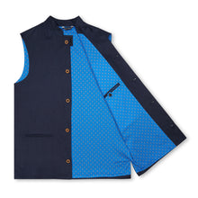 Marmaduke Nehru Gilet Nehru Waistcoat Nehru Vest crafted from linen, lined with our stunning hand drawn paisley prints, finished with coconut shell buttons. Nehru Waistcoast, Nehru jacket, Mandarin Collar. Made in England.