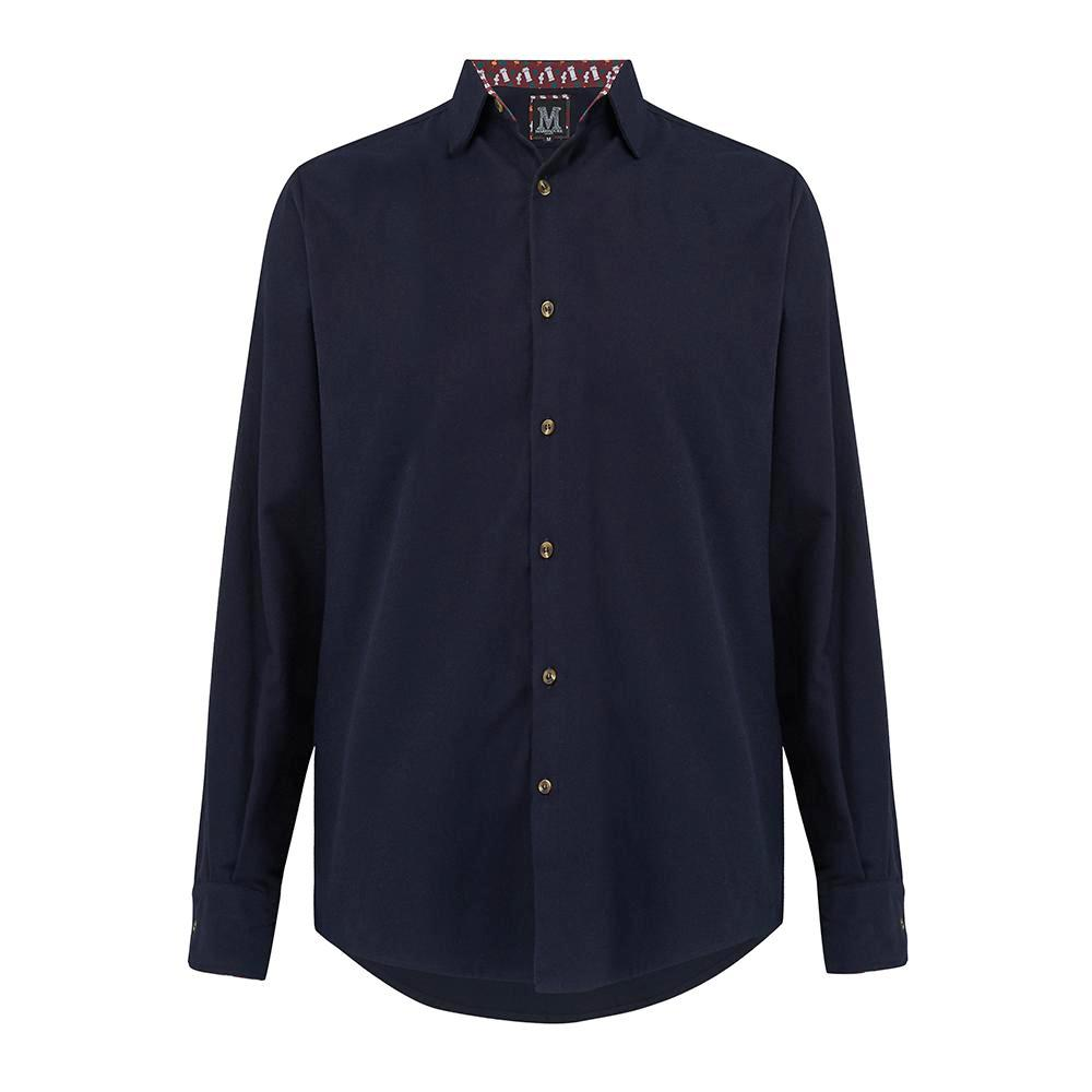 Brushed Cotton Casual Shirt in navy, with contrast cuffs and horn buttons. Smart casual, regular fit mens shirt. Menswear, casual mens clothing. British Made menswear.