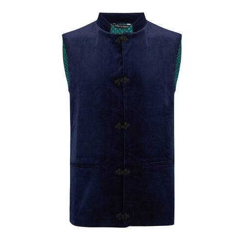 Titian - Nehru Gilet Made in England from Navy Cotton Velvet. Navy Velvet Nehru Gilet. Known as Nehru Vest, Nehru Waistcoat, Nehru Gilet. Silk froggings. British designer, British menswear, Made in England. Smart casual Menswear.