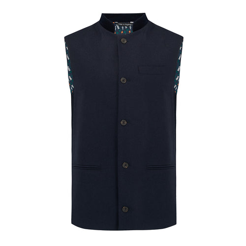 Nehru Gilet Made in England from Navy British Lambswool and a contrast Nehru collar in navy velvet. Known as Nehru Vest, Nehru Waistcoat, Nehru Gilet. Finished with horn buttons. British designer, British menswear, Made in England. Smart casual Menswear.