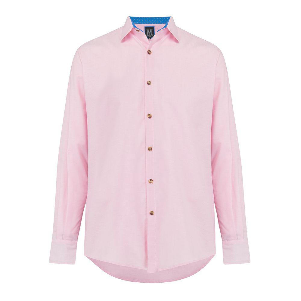 Pink Oxford Cotton Casual Shirt in light pink, with contrast cuffs and horn buttons. Smart casual, regular fit mens shirt. Menswear, casual mens clothing. Oxford Shirt. Casual Shirt. British Made menswear.