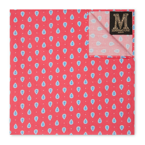 Marmaduke Squares are Hand Made from our hand drawn prints. Luxury menswear and mens accessories. Designed to be used as either a Handkerchief or Pocket Square.  Create the perfect gift by monogramming and personalise with his initials. Made in England.