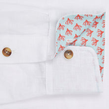 Marmaduke London luxury linen shirt, crafted from pure linen and finished with horn buttons. Featuring our popular hand drawn prints in cuffs and collar. Luxury summer menswear, beachwear.
