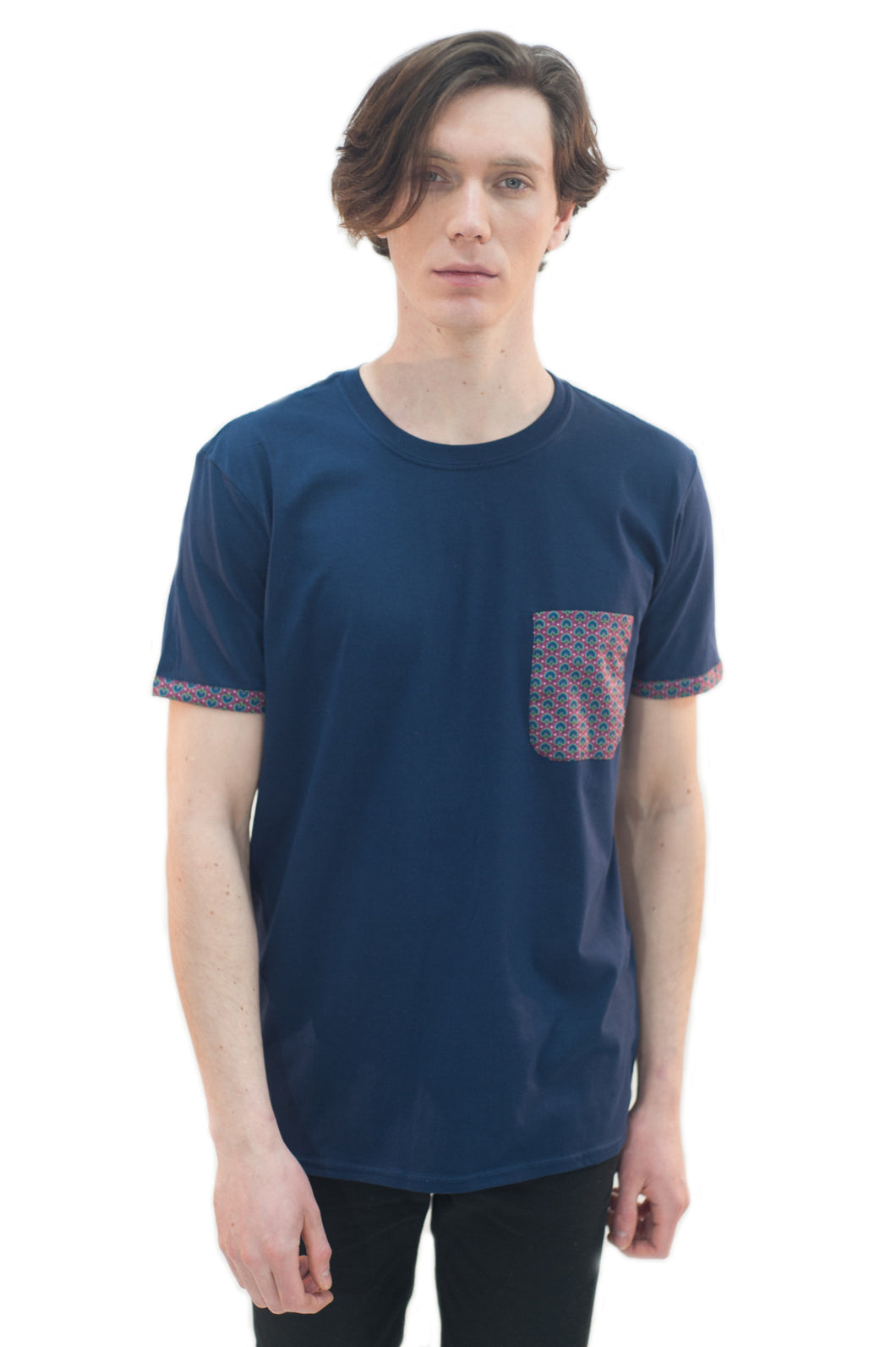 Marmaduke London Cotton T-shirt featuring Liberty print pocket details. Paisley. Designed and Handmade in England.