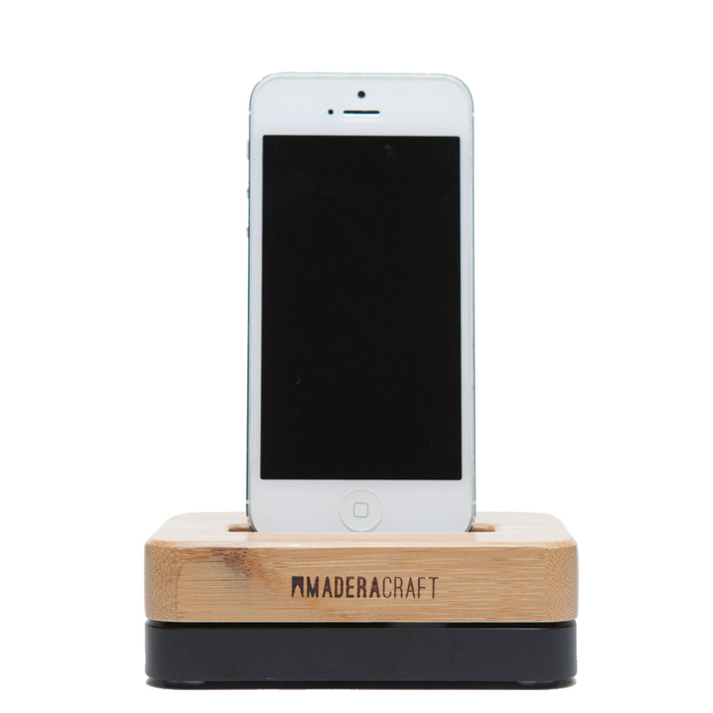 iPhone Docking Station, Bamboo & Carbon Black. iPhone 5, 5s, 6, 6s ...