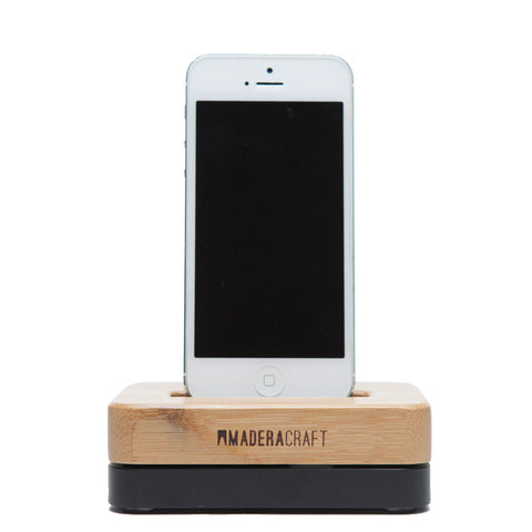 Bamboo Wood & Black iPhone Docking Station