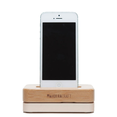 Bamboo Wood & Gold iPhone Docking Station