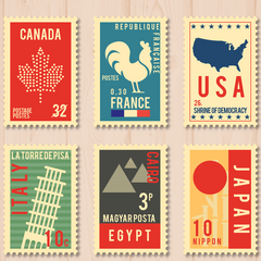 Worldwide shipping stamps