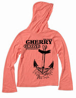 Cherry Grove, Fire Island long sleeved ladies fit shirt with an anchor designed for the LGBTQ brand, Seven Even Clothing.