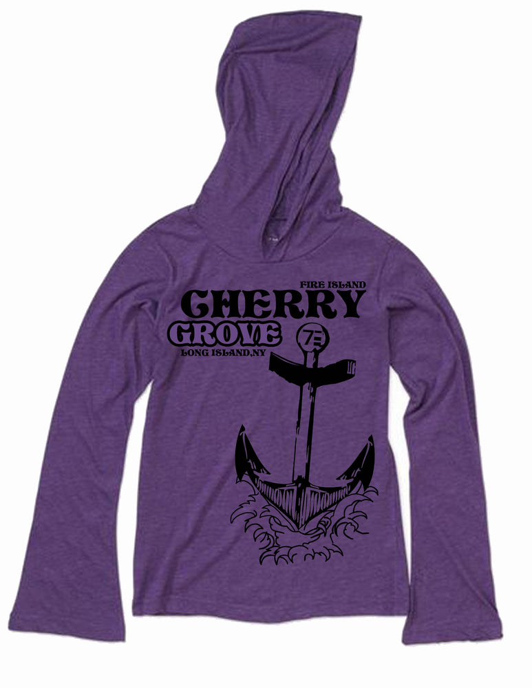 Girls wearing a purple and coral colored long sleeved shirt with an anchor designed on it underneath the words cherry grove