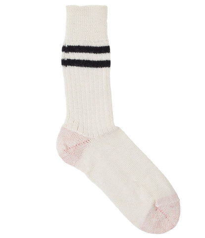 S75 new wool socks striped<br/>nature-charcoal
