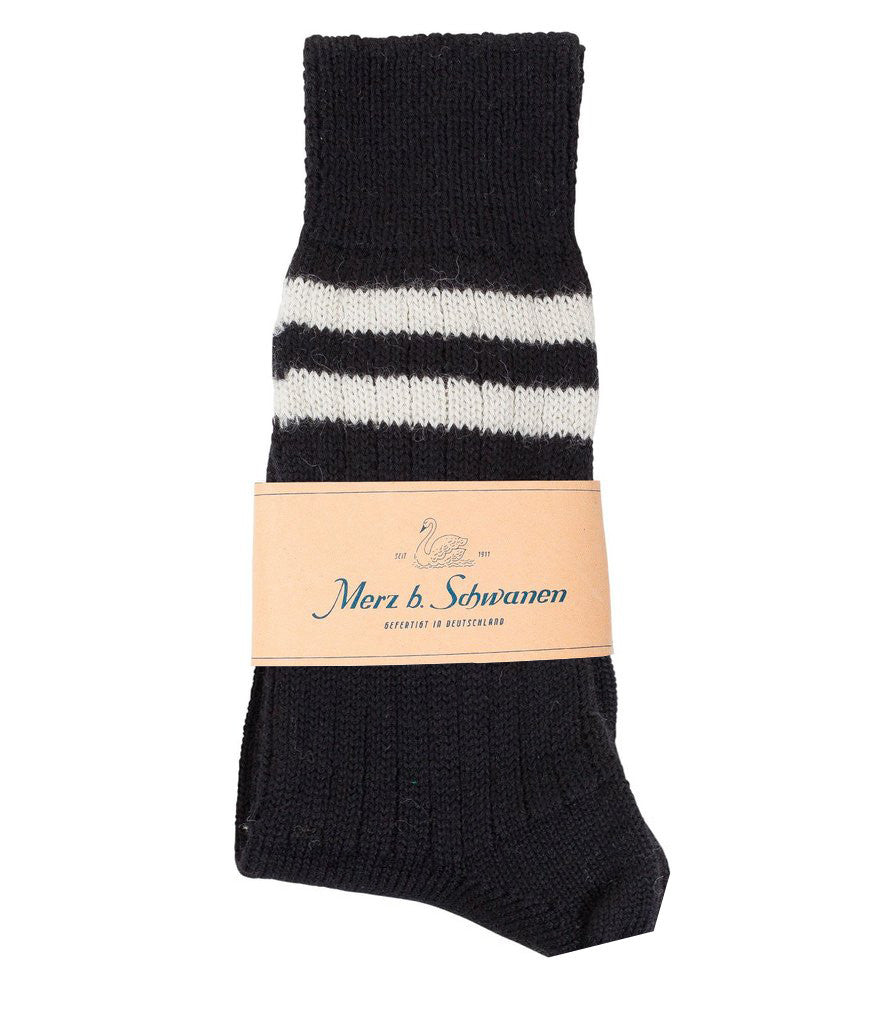 S75 new wool socks striped<br/>black-natur