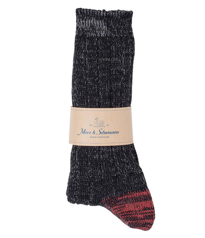 W72 merino wool socks<br/>black-grey