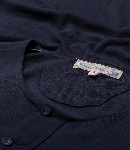 101 button border shirt 7/8 sleeve<br/>dark navy