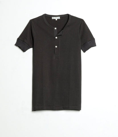 Men's <br/>2H07 hemp-cotton henley short sleeve <br/>charcoal