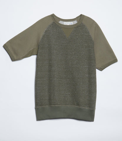 347T crew-neck sweatshirt sh. slv.<br/>forest mel.-army
