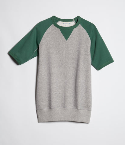 347T crew-neck sweatshirt sh. slv.<br/>grey mel.-green