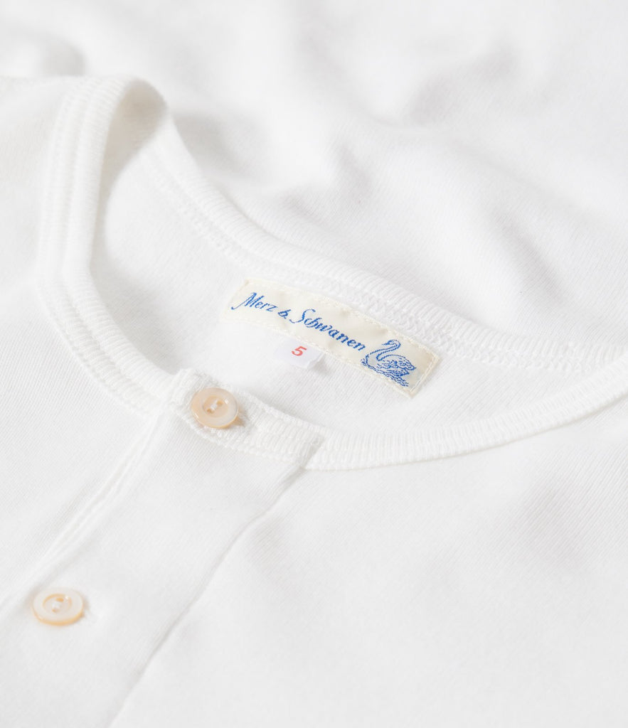 507 Strickflausch henley short sleeve<br/>white