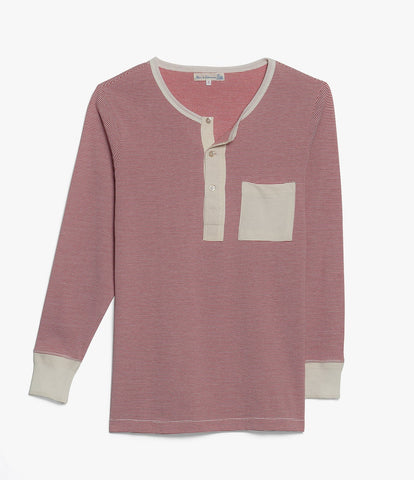 226P henley pocket long sleeve<br/>red-white