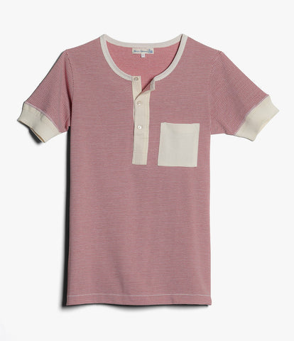 227P henley short sleeve pocket<br/>red-white