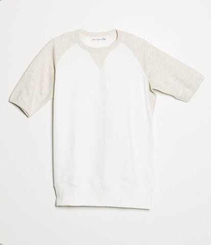347T crew-neck sweatshirt sh. slv.<br/>white-nature mel.