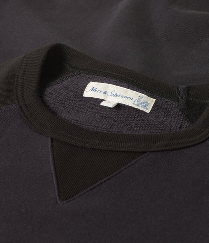 347T crew-neck sweatshirt sh. slv.<br/>navy-black