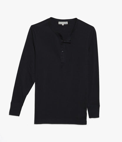 1930s henley long sleeve<br/>deep black