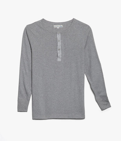 Men's <br/>1930s henley long sleeve <br/>grey mel.