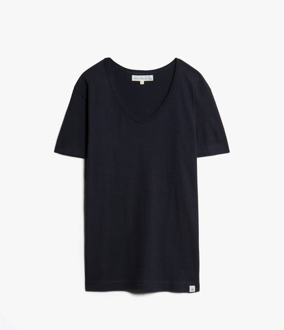 Women's<br/>1970sBFC boyfriend V-neck<br/>dark navy