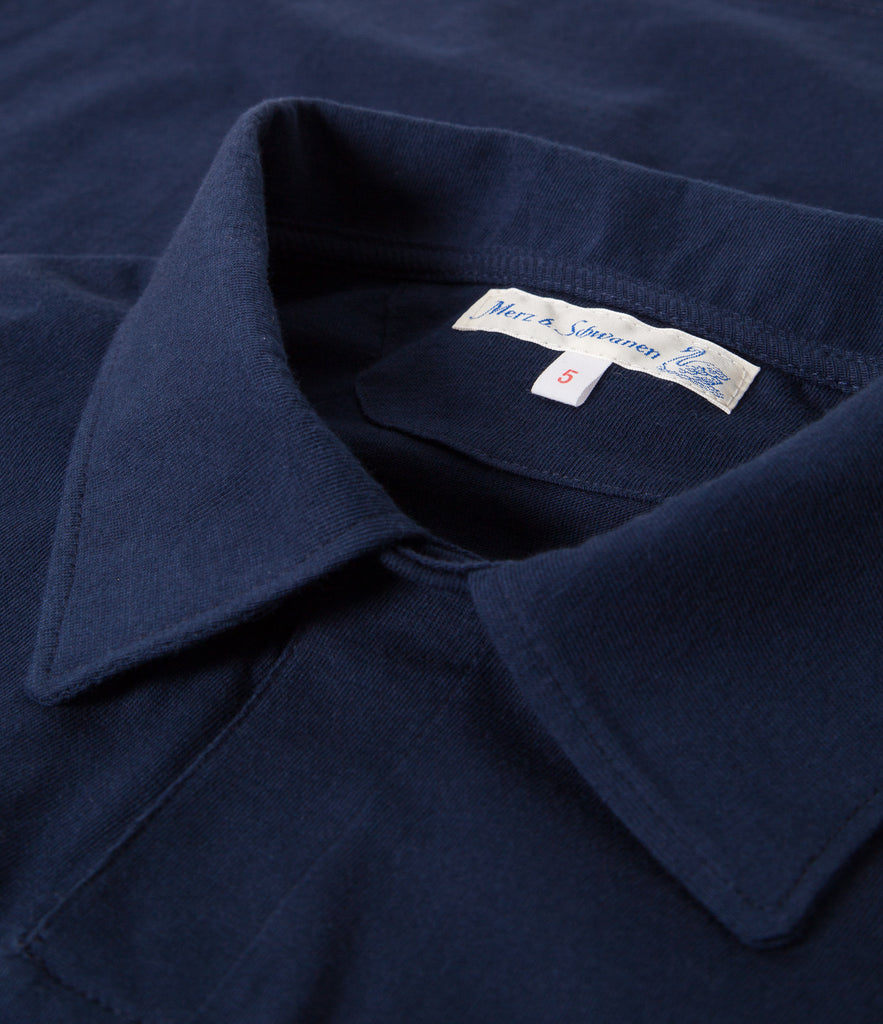 Men's<br/>1968 polo shirt 1/4 slv. with chest pocket<br/>ink blue
