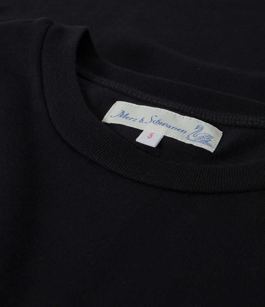 215OS oversized classic crew neck T-shirt<br/>deep black