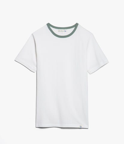 Men's<br/>215T classic contrasting crew neck T-shirt<br/>white-light army
