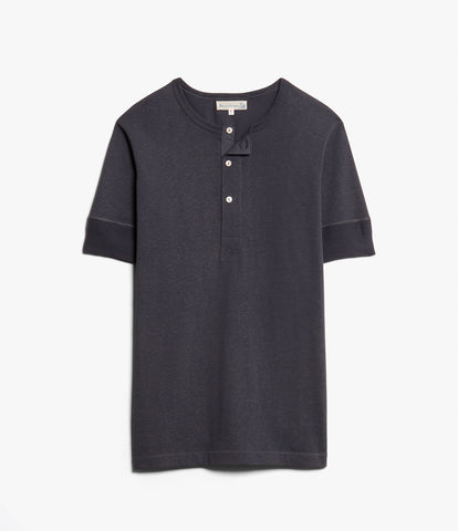 Men's <br/>2H07 hemp-cotton henley short sleeve <br/>navy