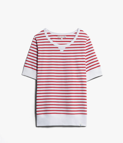 Women's <br/> 2M.CSSL classic sweatshirt striped short sleeve <br/> red-white